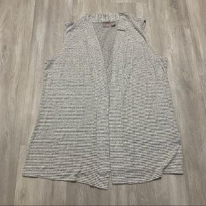 Chico's Striped Stretch Gray White Open Vest Sz 2